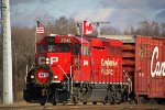 Flying the flags of two nations, CP 2246 rolls in to kick off the holiday show