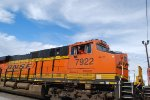 The Engineer of BNSF 7922 waves to me as He Pulls the ZSBDALT9-12 out of the BNSF Needles California Depot with Two Very, Very, Very 9 Day Old ES44AC4'S as His #3 and #4 units BNSF 5544 and BNSF 5545.