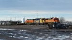BNSF locomotives sitting in rail yard