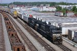 NS 9075 lost in a sea of containers