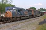 NB empty coal meet SB Q125 at the depot