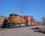 BNSF 4376 is the DPU unit on a long westbound stack train