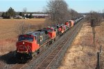 Westbound mixed freight #385 with 5 units seen from Blenheim Rd bridge