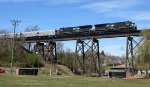 RBBX red unit starts across Cotton Mill trestle.