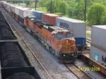 BNSF 922 leads NS train 21K past CSX coal train and NS 22E.