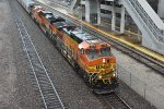 BNSF 4430 Drags a sand train past Union station.