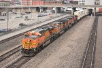 BNSF 7656 Rumbles west with a stack train in tow.