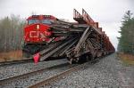 CN 2672 waits by the broken rail train