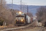 NS 9962 leads westbound merchandise freight