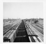 View of Santa Fe yards from stockyards bridge January 1969.