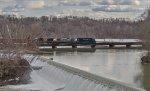 MEC 616 leads EDRJ across the Hoosick River trestle at Schaighticoke