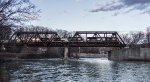 22K crossing the through-truss bridge over the Hoosick River
