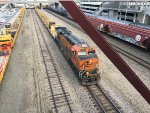 BNSF 7837 Leading An Unloaded Ribbon Rail Train At Union Station