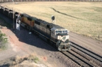 BNSF 9823 brings empties down the hill
