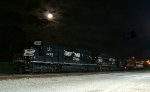 NS 905 tied up for the weekend with bright moon overhead