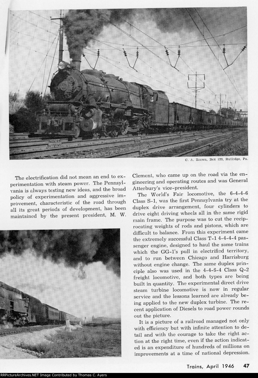 """Trains"" Centennial Issue, Page 47, 1946"