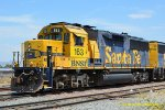 BNSF 163 (GP60) at Perris CA. 7/17/2018. Over Twenty years since the BNSF merger and both units are still in full ATSF blue and yellow paint and lettering, WOW !