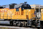 UP 282 (GP38-2) ex SP 4801 BLT: 01/1980 here at El Centro Ca on 4/12/2017 with the original SP L-Shaped Windshield still in tack.
