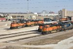 BNSF 3976 and others sit in the pit at Galesburg IL.