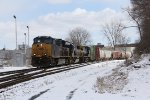 CSX 3367 slowly works its way west about a mile from its destination at Wyoming Yard