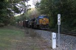 Sitting in the evening shadows short of mile 148, Q385 waits for a signal at Seymour