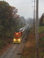 GR 2104 heads east with 10 cars for King Milling on a damp autumn morning