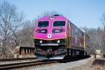 MBTA 2028 leads Worcester bound train #2509 over Rte 128