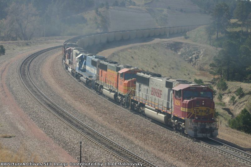 BNSF 8294 and others smoke it up