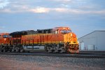 BNSF 3726 with BNSF 5541 Lead a Eastbound Stack Train out of the BNSF Amarillo Depot towards Wellington, Kansas at Sunrise.