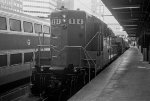 MBTA 904 stands at south station with a leaf spraying train