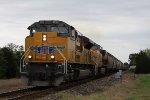 UP 9051 leads grain train SB