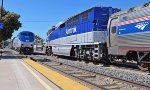 Amtrak 11 leads train 11 past the mid-day Surfliner