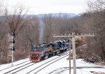 MEC 514 waits to enter East Deerfield with 16R in tow