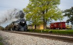 611 passes the old depot and Southern RY caboose