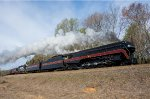 """""""The Virginian"""" rounds a fill north of Reidsville"""