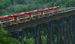 Angolan National Railways C30ACi units cross the James River en route to Norfolk, VA