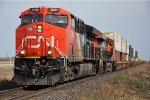 Westbound stack train nears a meet