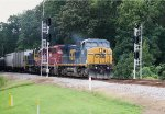 CSX C40-8W 7887, HLCX SD40-2 7203, and MP15T 1230 split the Crestwood Road signals