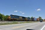 CSX 5458 Heads up a westbound stack train on the Willard Sub.
