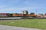 BNSF 8253 leads a stack through Deshler Oh.