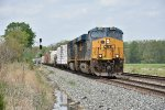 CSX 3070 leads a mixed freight east.