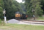 CSX ES40DC 5351, AC60CW 609, and ES40DC 5485 blast out of the woods