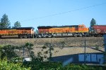 BNSF 3738 catches the Early Morning Sun as She crosses the High Rise Bridge out of Spokane for the Laytar Junction Wye.