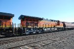 BNSF 3738 side quartering shot as She heads west behind the Lead Locomotive BNSF 7915.