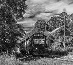 Housatonic Railroad Train NX-12 Rolling Away from Downtown Great Barrington