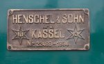 Henschel builder's plate for Boothbay Railway #6