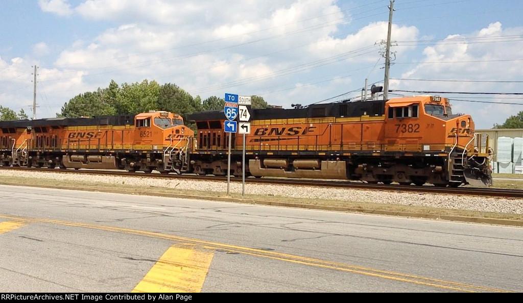 BNSF 7382, 6521, and 8128 run light
