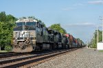 NS 9763 hustles an intermodal west