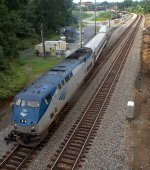 Amtrak Roanoke test train leaves the yard and enters the main line