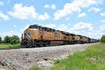 UP 7456 Leads an Empty Rock Train